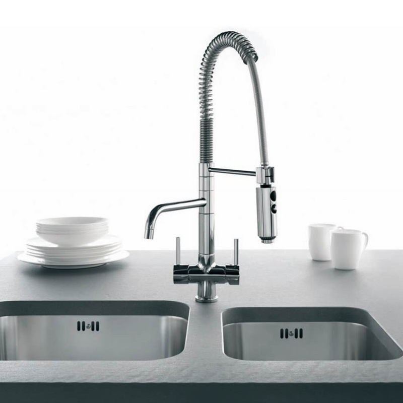 Azzurra 3 Way Tri Flow Kitchen Tap Pull Out Spray Hose 2