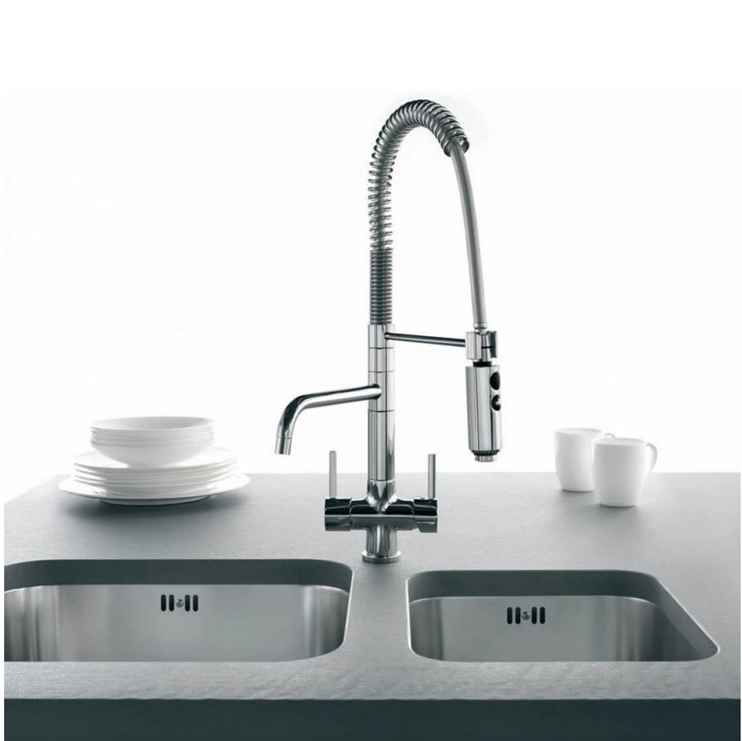 Filtered Water Faucet >> Osmio Azzurra Breve Brushed Chrome 3-Way (Tri-flow) Kitchen Tap Spray Hose | 3 way kitchen tap ...