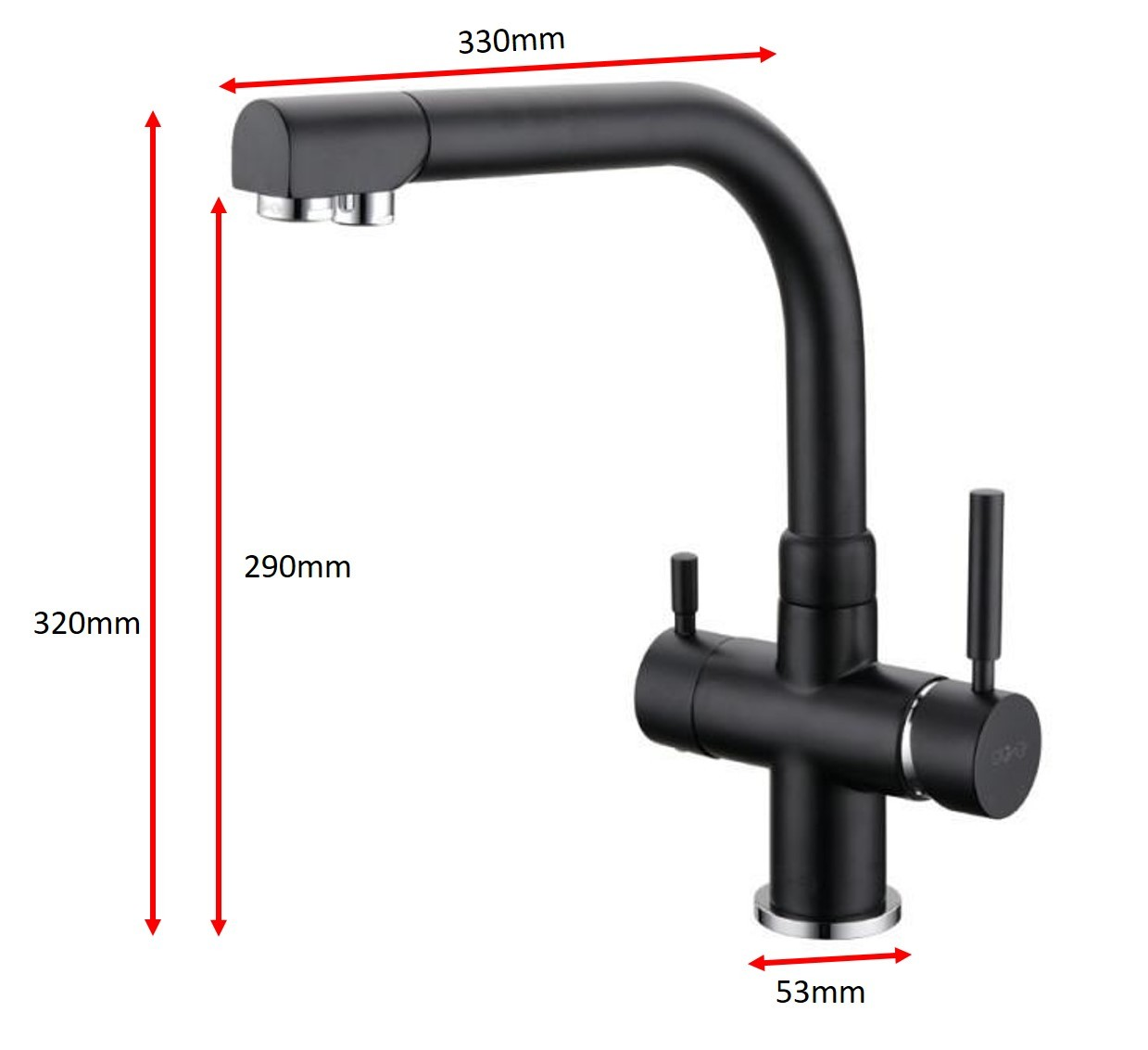 Osmio Alba Black 3 Way Tri Flow Kitchen Tap 3 Way